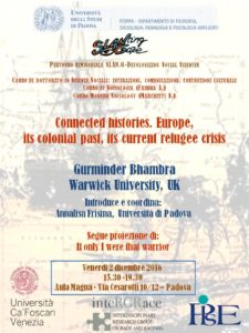 Gurminder Bhambra: Connected histories. Europe, its colonial past, its current refugee crisis Thumb