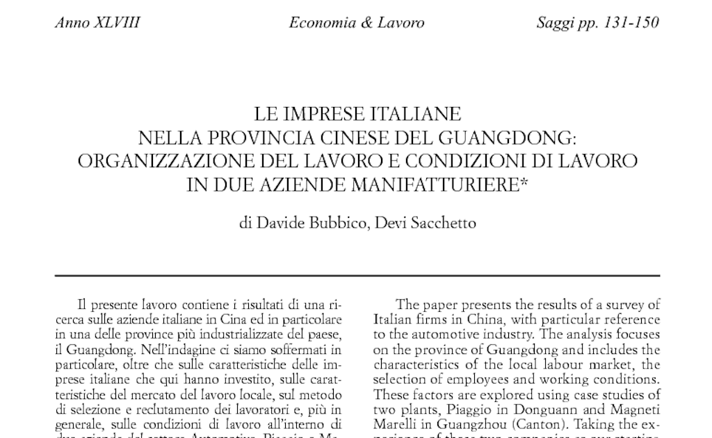 Le imprese italiane nella provincia cinese del Guangdong: organizzazione del lavoro e condizioni di lavoro in due aziende manifatturiere Cover