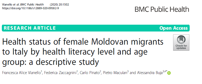 Health status of female Moldovan migrants to Italy by health literacy level and age group: a descriptive study Cover